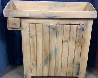 Beautifully hand build, hand painted and farmhouse distressed primitive Dry Sink and storage cabinet.