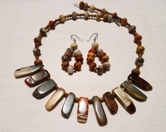 Multi Colored Jasper Necklace Set