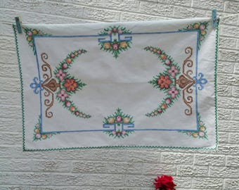 Vintage linen tray cloth with lovely neat cross stitch designs. Vintage tray cloth. Place setting. Vintage table linen.