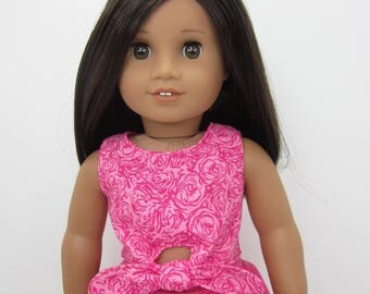 18 inch  doll clothes -  Fuchsia   reversible tie front top.