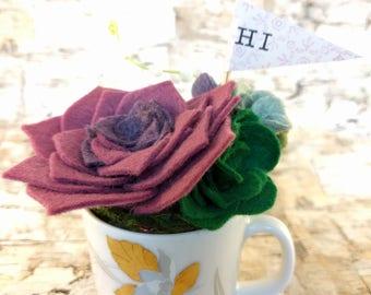 Wool Felt Succulent Arrangement in a Vintage Tea cup