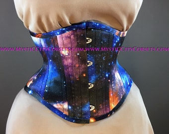 MCC-6 Galaxy Satin waspie corset underbust waist training tightlacing steel boned corset  MystiC City Corsets