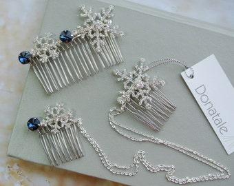 Snowflake Hair Comb , Snowflake hair accessories,Wedding hair comb,  Bridesmaid  hair ,Crystal Headpiece, Crystal Hair Comb, gift