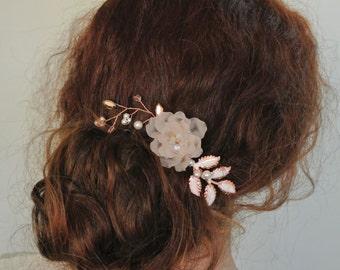 Rose gold Hair comb Blush Hair comb Leaf Hair comb  Wedding Headpiece Bridesmaid Hair comb  Plale Pink  Headpiece Blush Hair flower
