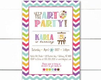 Art Paint Party Birthday Invitation, Rainbow Art Party Invitation, paint party birthday- Printable