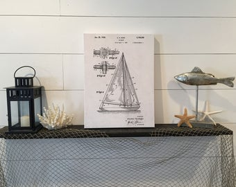SAILBOAT Patent Drawing Hand-Stretched Canvas Print Home Decor 15x20