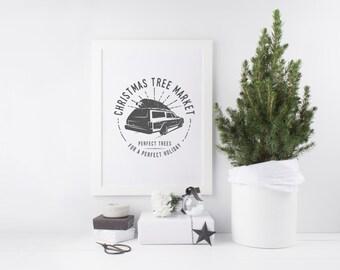 Christmas Tree Market Print - Vintage Christmas Print - Vintage Christmas Art - Vintage Truck Print - Christmas Print