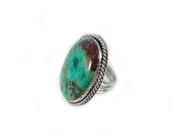 Sterling Silver Chrysocolla Ring, Size 5.5
