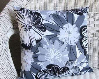 black white pillow cover gray floral decorative throw accent 16x16 18x18 20x20 22x22 12x16 12x18 12x20