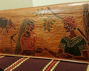 Indian Tooled Leather Clutch, Brown/Tan, Painted Image with Oxen, Woman, Man -- Gold Piping, Whip-stitched