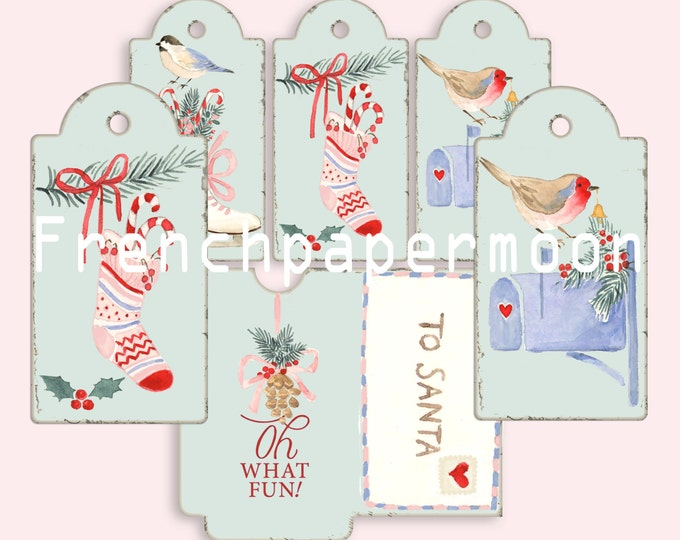 Fun Printable Christmas Tags, Digital Christmas Tags with Envelope, Adorable Watercolor Christmas Clipart Tags, Hand-drawn Tags