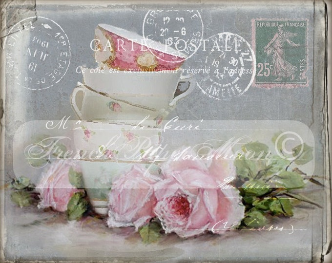 Vintage Digital Chalkboard Postcard, Shabby Teacup and Roses, French Graphics, French PillowTransfer Graphic, Instant Download