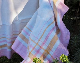 Vintage 1950s Linen Tablecloth / Square Tablecloth / Pink and Yellow Plaid Border Barkcloth / Fine Linens / Table Linen / Tablecloth