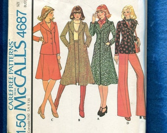1970's McCall's 4687 Coat & Jacket with Large Pointed Collar and Princess Seams Size 12