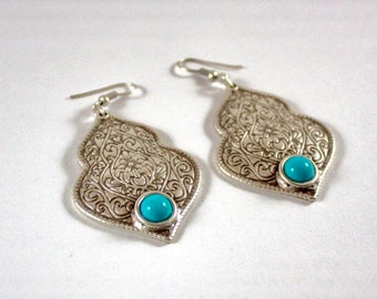 Antique Silver Chandelier Earrings with Turquoise