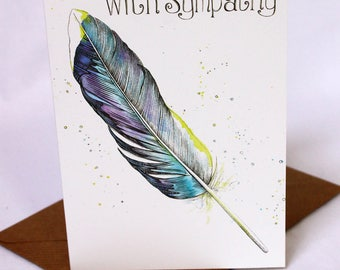 With Sympathy Feather Card