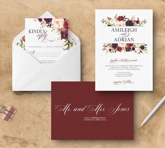 Navy and Burgundy Wedding Invitation Merlot Wedding Invitations
