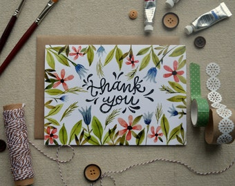 Floral Thank You Card/ Watercolor Thank You Card/ Watercolor Note Card/ Blank Thank You Card- 5x7