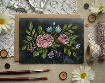 Watercolor Note Card/ Just Because Card/ Floral Note Card/ Friendship Card/ Vintage Floral Card- 5x7