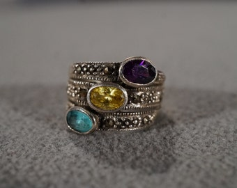 Vintage Sterling Silver Cigar Band Ring 3 Oval African Amethyst Blue Topaz Golden Citrine Marcasite 3 Row Design Art Deco Style, Size 6