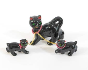 Vintage Redware Japanese Mama Cat and Kittens with Chains, Black Cat and Kitten Figurines, Halloween