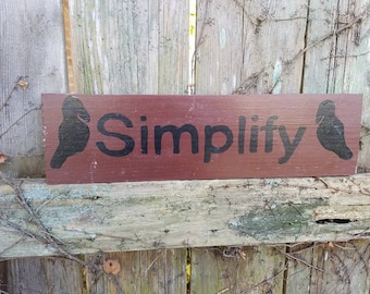 """DISCOUNTED PRICING Vintage used damaged SIMPLIFY country decor sign Black Crows on Wine Burgundy colored paint 4x14-3/4"""" ready to hang"""