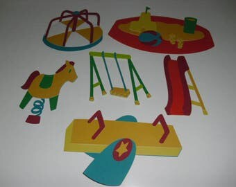 Park and Play Ground Scrapbook Embellishments  - Set of 6