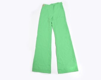 Vintage 70's Green Bell Bottom  Pants / High Waisted Lime Green Flared Pants