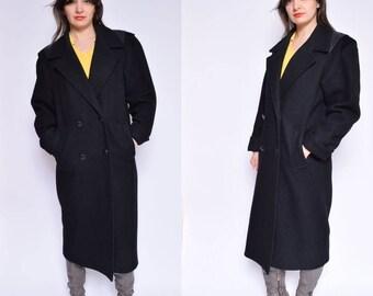Vintage 80's Black Oversized Coat / Black Button Maxi Coat / Black Wool Coat - Size Small