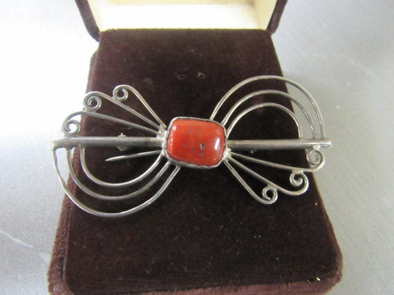 Navajo coral pin sterling silver bow style
