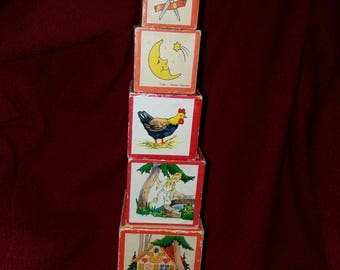 Vintage Cardboard 7 Pc. Childs Stacking/Nesting Boxed Toy