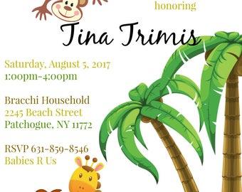 Jungle Theme Baby Shower Invitation Monkey Lion Girafee Boy Girl
