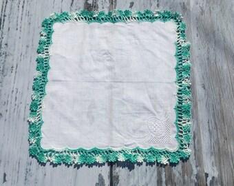 Ladies Hankies . Crochet Lace Edge Handkerchief . Aqua Border . White Hankie . Crochetted Border . New Hankie .