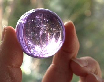 "Light Purple Crystal Ball Huge Glass Ball 39mm 1 1/2"" Large Marble Big Glass Marble Vintage Marble Colorful Sphere Collectors Marble + Stand"