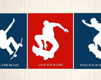 Boys room wall art, skateboard art, sports art, skateboarding, teen boy wall art, dorm room art, inspirational art for boys, Set of 3