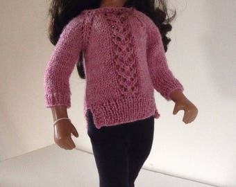 "Dusky pink sweater for Sasha, Gotz, & other 15""-17"" slim dolls"
