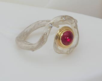 A Pink Tourmaline and Diamond Woodland Ring in Silver and Gold