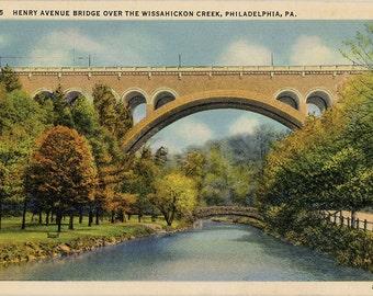 Philadelphia Pennsylvania Henry Avenue Bridge Over Wissahickon Creek Vintage Postcard 1937