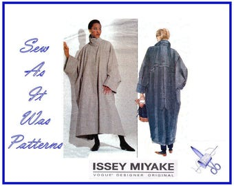 1990s Vogue Designer Original 2736 Issey Miyake Loose Fitting Coat Cape Back Shield Sewing Pattern Sizes XS S M 6 8 10 12 14 Bust 30.5-36