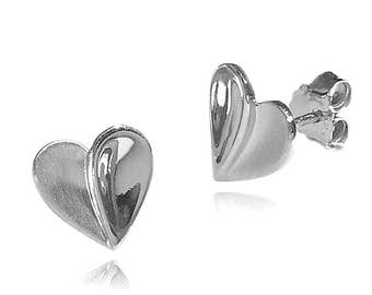 Stylised Heart Shaped Earrings in 925 Sterling Silver with a Polished/Satin Finish.