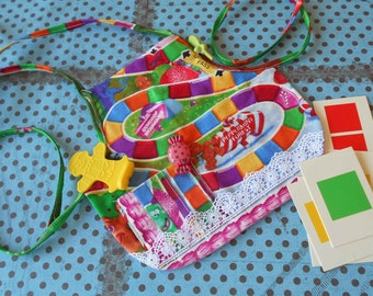 "Handmade for 18"" American Girl Doll CANDYLAND GAME Doll APRON to fit over a dress, etc.  One of a Kind  Includes Authentic Candyland Pieces"