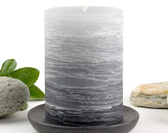 "Gray Pillar Candle - Rustic Layered Fade Style - 3 x 4"" - Gray Tablescape - Rustic Wedding Decor"