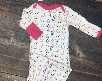 Newborn Girl Coming Home, baby Layette Gown in organic knit pink, mustard, blue triangle print