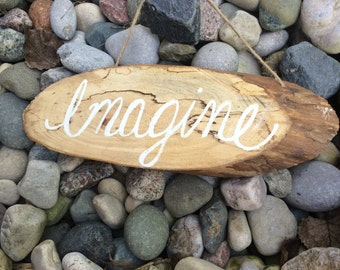 Sign Wood-Imagine-Cabin-Farmhouse -Rustic