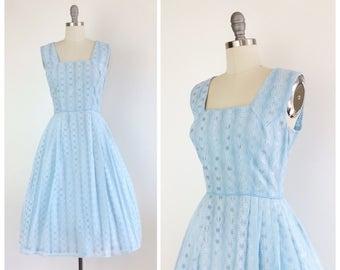 60s Light Blue Lace Party Dress / 1960s Vintage Day Dress / Large / Size 10