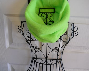 Lime Green Fleece Gaiter /  Green Fleece Neck Warmer / Cozy Cowl