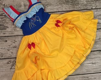 Disney Inspired appliqued embellished Sweetheart Double ruffle double tie peekaboo dress ft. Snow White and dopey sketch Sizes 6m-8