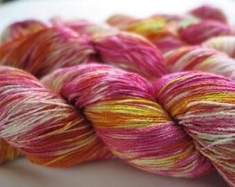 Painted silk in hot pink,yellow , orange