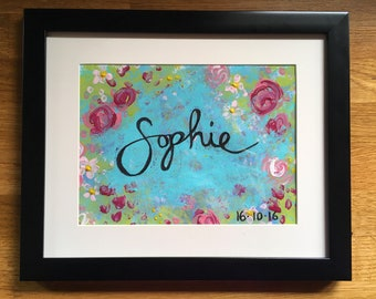 Hand-painted personalised baby name painting.