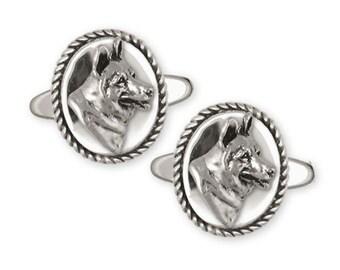 German Shepherd Cufflinks Jewelry Sterling Silver Handmade Dog Cufflinks GS14-2CL
